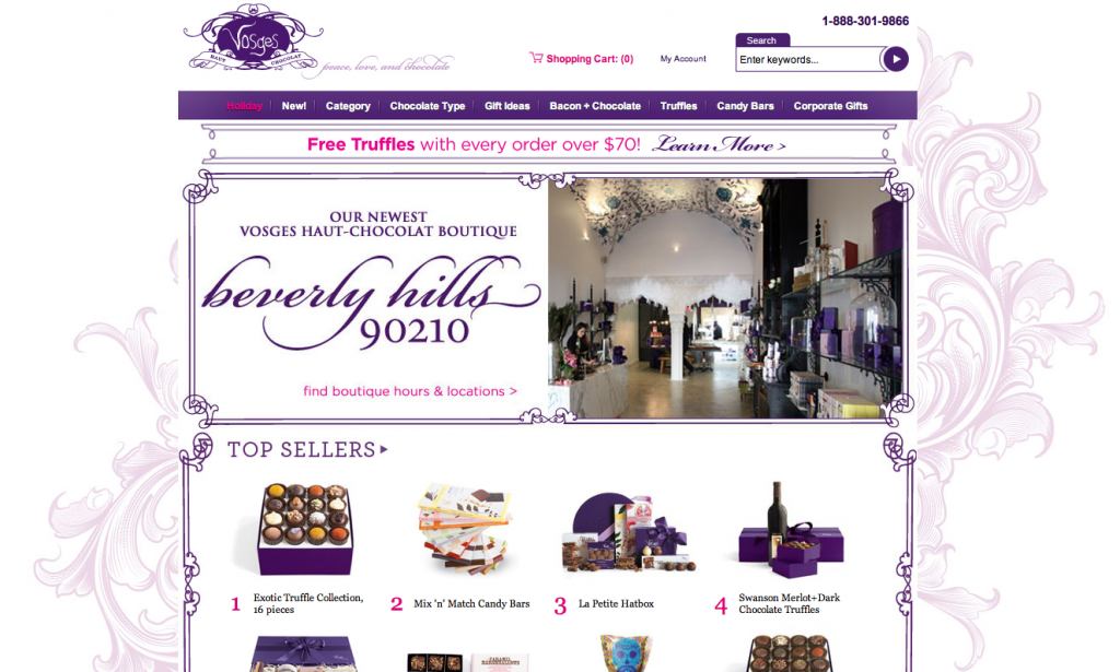 vosges chocolate website screenshot