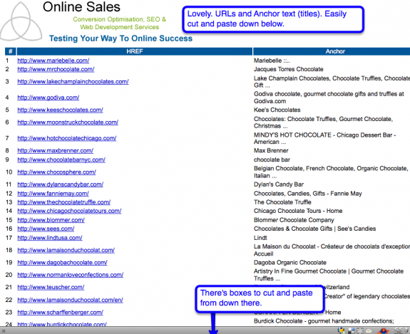 online sales js bookmarklet screenshot
