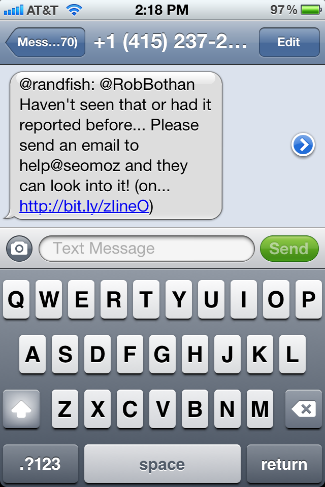 Tweet from @randfish sent to my phone as a text message.