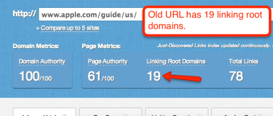 old url with linking root domains on apple.com