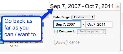 adjust dates in analytics