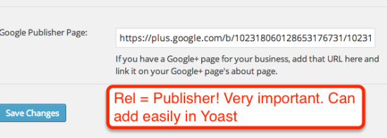 rel publisher in yoast