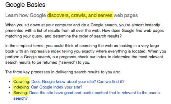 secreenshot of google webmaster help crawl index serve