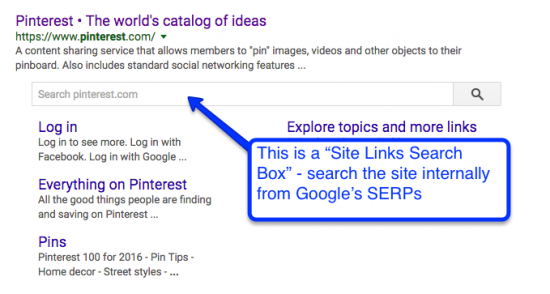 site links search box example