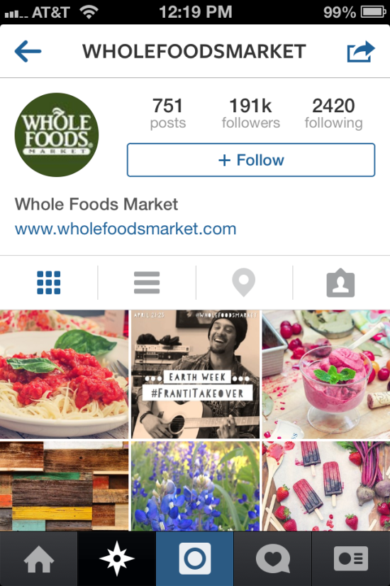 screenshot of whole foods instagram account