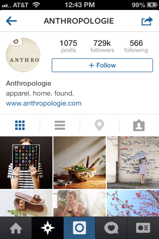 screenshot of anthropolgie instagram account