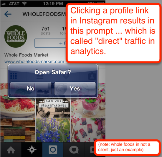 screenshot of whole foods instagram profile link