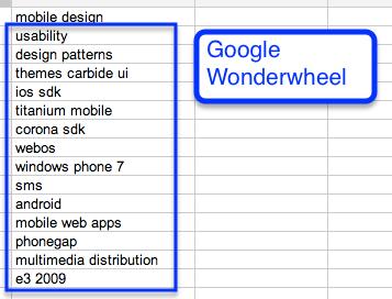 screenshot of google sets