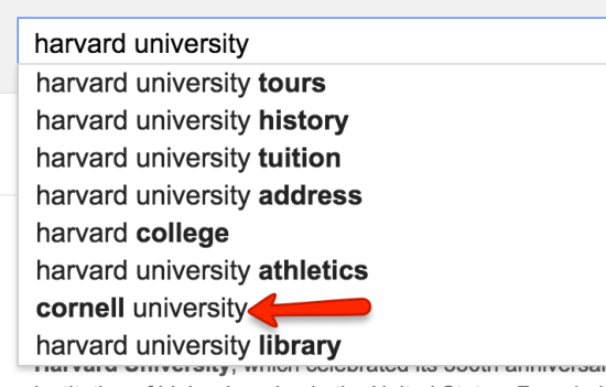 harvard university search suggest