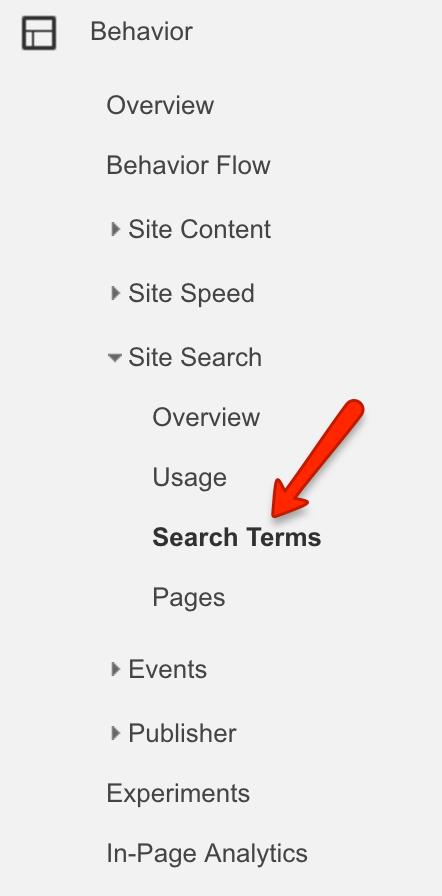 google analytics site search in menu