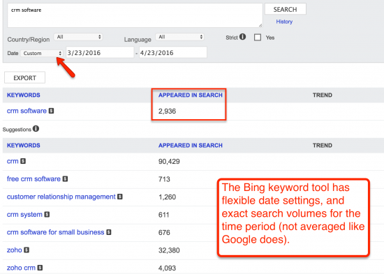 bing webmaster tools keyword tool