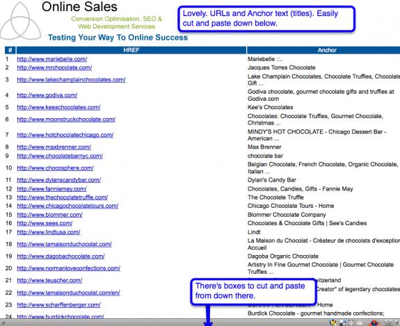 online sales js bookmarklet screenshot