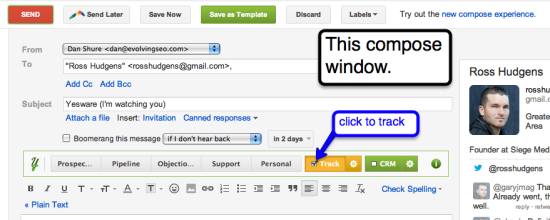 compose window yesware