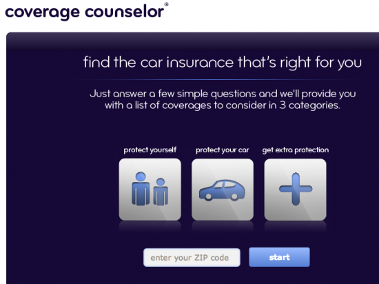 screenshot of esurance coverage counselor