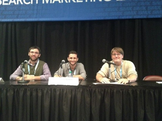 Dan (pictured left) speaking at SMX East 2013