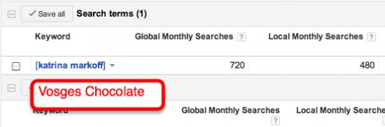 katrina markoff search volume screenshot