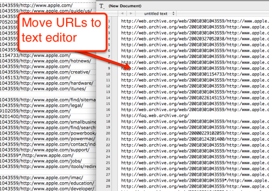 move urls to text editor