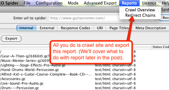 crawl and export redirect chains report
