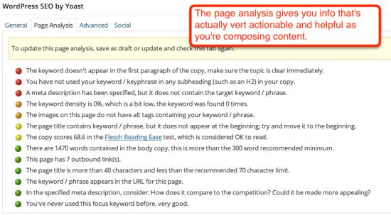 seo page analysis in yoast seo
