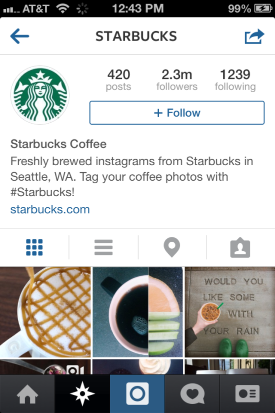 screenshot of starbucks instagram account
