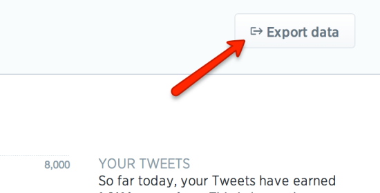 twitter analytics export button