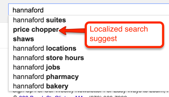 hannaford search suggest