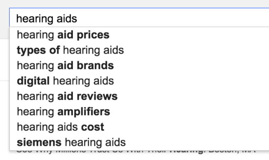 hearing aids search suggest