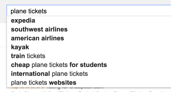 plane tickets related searches autocomplete