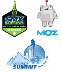 SMX, Moz and Affiliate Summit Speaking Badges